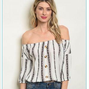 Tops - Off Shoulder Stripe top